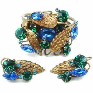 Vintage Jewelry Set Bracelet Ear Clips Rhinestone